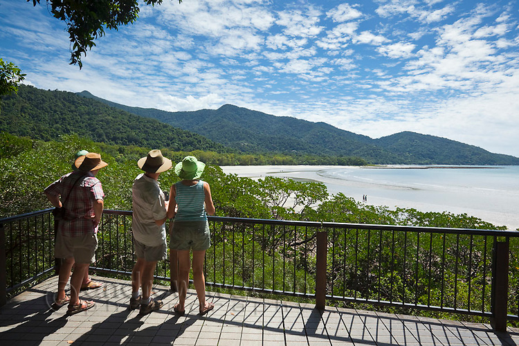 Tourists at the Cape Tribulation lookout.  Daintree National Park, Queensland, Australia