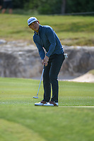 Xinjun Zhang (CHN) watches his putt on 14 during Round 1 of the Valero Texas Open, AT&amp;T Oaks Course, TPC San Antonio, San Antonio, Texas, USA. 4/19/2018.<br /> Picture: Golffile | Ken Murray<br /> <br /> <br /> All photo usage must carry mandatory copyright credit (&copy; Golffile | Ken Murray)