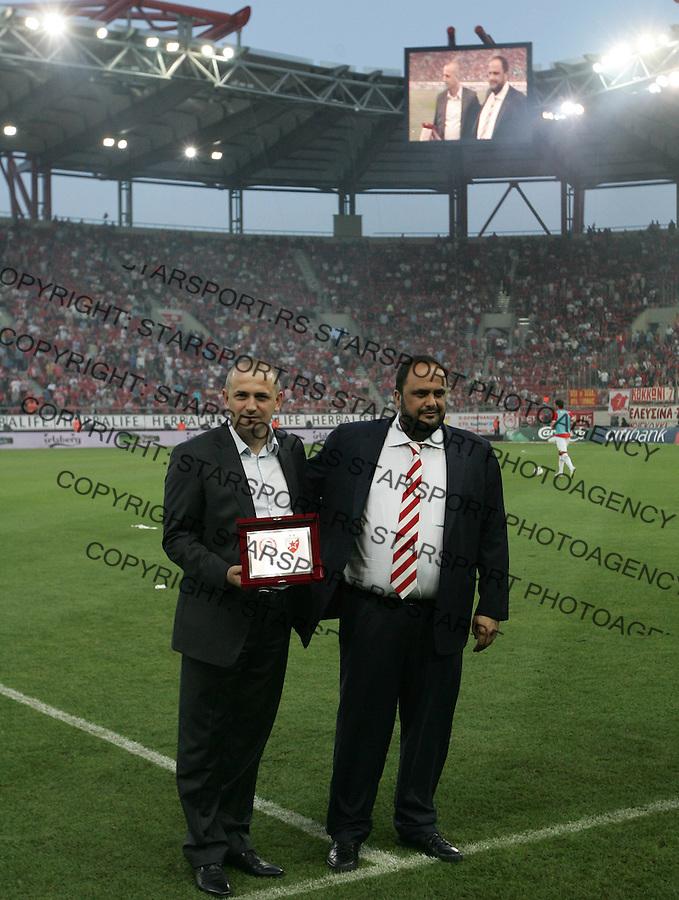 Fudbal.Olympiacos Vs. Crvena Zvezda.Vladan Lukic, left.Athens, 09.05.2012..foto: Srdjan Stevanovic/Starsportphoto ©