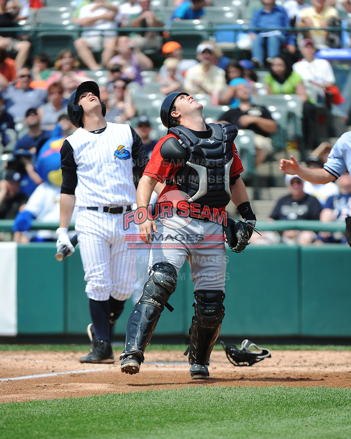 Erie SeaWolves catcher Zach Maggard (23) during game against the Trenton Thunder at ARM & HAMMER Park on May 29 2013 in Trenton, NJ.  Trenton defeated Erie 3-1.  Tomasso DeRosa/Four Seam Images