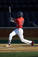 Dylan Allen (33) of the Liberty Flames follows through on his swing against the Wake Forest Demon Deacons at David F. Couch Ballpark on April 25, 2018 in  Winston-Salem, North Carolina.  The Demon Deacons defeated the Flames 8-7.  (Brian Westerholt/Four Seam Images)