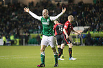 Hibs v St Johnstone....21.12.13    SPFL<br /> James Collins appeals for a penalty after being brought down<br /> Picture by Graeme Hart.<br /> Copyright Perthshire Picture Agency<br /> Tel: 01738 623350  Mobile: 07990 594431