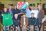 WEB-SITE LAUNCH: Launching the Kerry District League new Web Site at Mounthawk Park on Friday seated l-r: Don O'Donoghue (Vice chairman KDL), Sean O'Keeffe (Chairman KDL) and Adrian O'Donnell (KDL). Back l-r: Sean Moran (KDL), Mort Murphy (PRO KDL), John Sheehan (EGG Design), Cathal McDonnell (Domino's Pizza), Frank Ryan (Denny), John O'Regan (Hon secretary KDL) and John O'Rourke (Umbro).