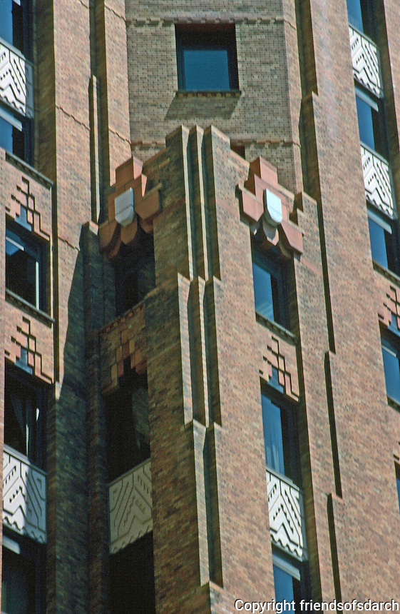 Detroit:  Guardian Building-- detail of facade.  Notched and stepped-back South Tower.  Photo '997.