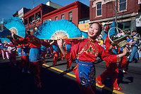 Chinese New Year Festival Parade Celebration, Dancers dancing with Fans - Chinatown, Vancouver, BC, British Columbia, Canada