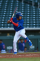AZL Cubs 1 Fabian Pertuz (12) at bat during an Arizona League game against the AZL Athletics Gold at Sloan Park on June 20, 2019 in Mesa, Arizona. AZL Athletics Gold defeated AZL Cubs 1 21-3. (Zachary Lucy/Four Seam Images)