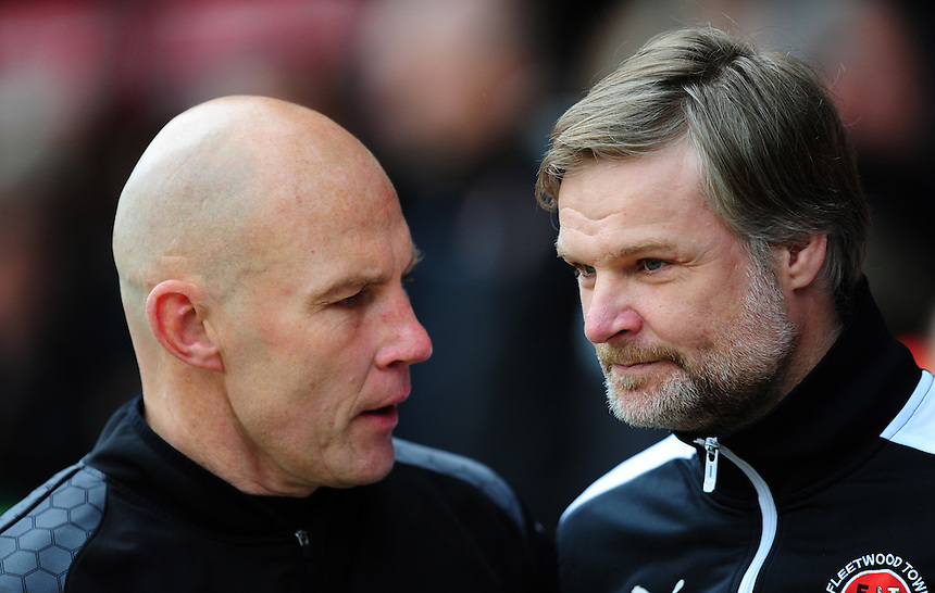Walsall interim manager Jon Whitney, left, and Fleetwood Town manager Steven Pressley <br /> <br /> Photographer Chris Vaughan/CameraSport<br /> <br /> Football - The Football League Sky Bet League One - Walsall v Fleetwood Town - Monday 2nd May 2016 - Banks's Stadium - Walsall   <br /> <br /> &copy; CameraSport - 43 Linden Ave. Countesthorpe. Leicester. England. LE8 5PG - Tel: +44 (0) 116 277 4147 - admin@camerasport.com - www.camerasport.com