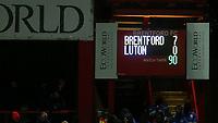 The scoreboard showing Brentford's seven nil scoreline during Brentford vs Luton Town, Sky Bet EFL Championship Football at Griffin Park on 30th November 2019