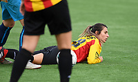 20191005  -  Diksmuide , BELGIUM : KV Mechelen's Pure Eke pictured during a footballgame between the womensoccer teams from Famkes Westhoek Diksmuide Merkem and KV Mechelen Ladies A , on the 5th matchday in the first division , 1e nationale , in Diksmuide - Belgium - saturday 5th october 2019 . PHOTO DAVID CATRY   Sportpix.be