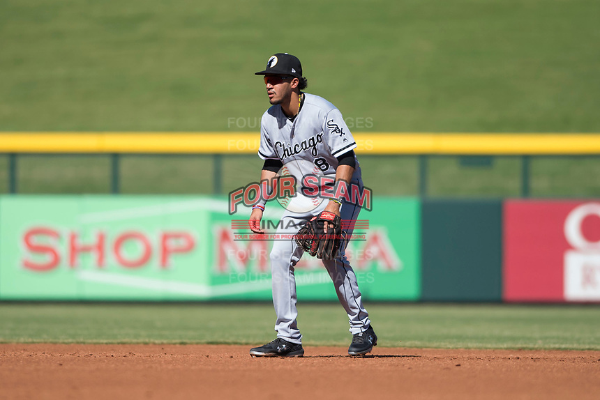 Glendale Desert Dogs second baseman Laz Rivera (8), of the Chicago White Sox organization, during an Arizona Fall League game against the Mesa Solar Sox at Sloan Park on October 27, 2018 in Mesa, Arizona. Glendale defeated Mesa 7-6. (Zachary Lucy/Four Seam Images)