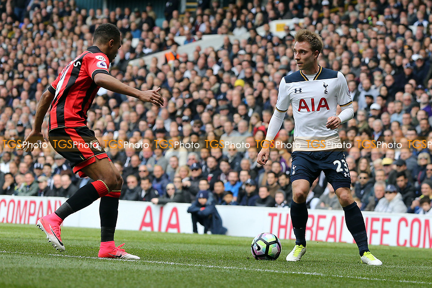 Junior Stanislas of Bournemouth and Christian Eriksen of Tottenham Hotspur during Tottenham Hotspur vs AFC Bournemouth, Premier League Football at White Hart Lane on 15th April 2017