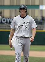June 22, 2004:  Joe Borchard of the Charlotte Knights, International League (AAA) affiliate of the Chicago White Sox, during a game at Frontier Field in Rochester, NY.  Photo by:  Mike Janes/Four Seam Images