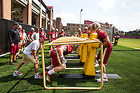 TALLAHASSEE, FLA.8/6/13-FSU080613CH-Florida State Offensive Line Coach Rick Trickett, left, directs during the Seminole's first day of practice Aug. 6, 2013 in Tallahassee, Fla.<br /> <br /> COLIN HACKLEY PHOTO
