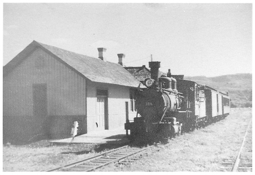 #318 standing next to Sapinero station hauling boxcar and passenger car.<br /> D&amp;RGW  Sapinero, CO