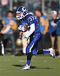 Carson's Mathias Williams runs back a kick off during the NIAA D-1 Northern Regional title game against Reed at Bishop Manogue High School in Reno, Nev., on Saturday, Nov. 29, 2014. Reed won 28-25.<br /> Photo by Cathleen Allison