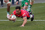NELSON, NEW ZEALAND - August 12: Drew Petelo scores a try Tasman Makos v Manawatu Preseason at  Trafalgar Park on August 12 2016 in Nelson, New Zealand. (Photo by: Evan Barnes Shuttersport Limited)
