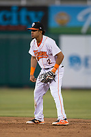 Fresno Grizzlies shortstop Antonio Nunez (2) during a Pacific Coast League game against the Salt Lake Bees at Chukchansi Park on May 14, 2018 in Fresno, California. Fresno defeated Salt Lake 4-3. (Zachary Lucy/Four Seam Images)