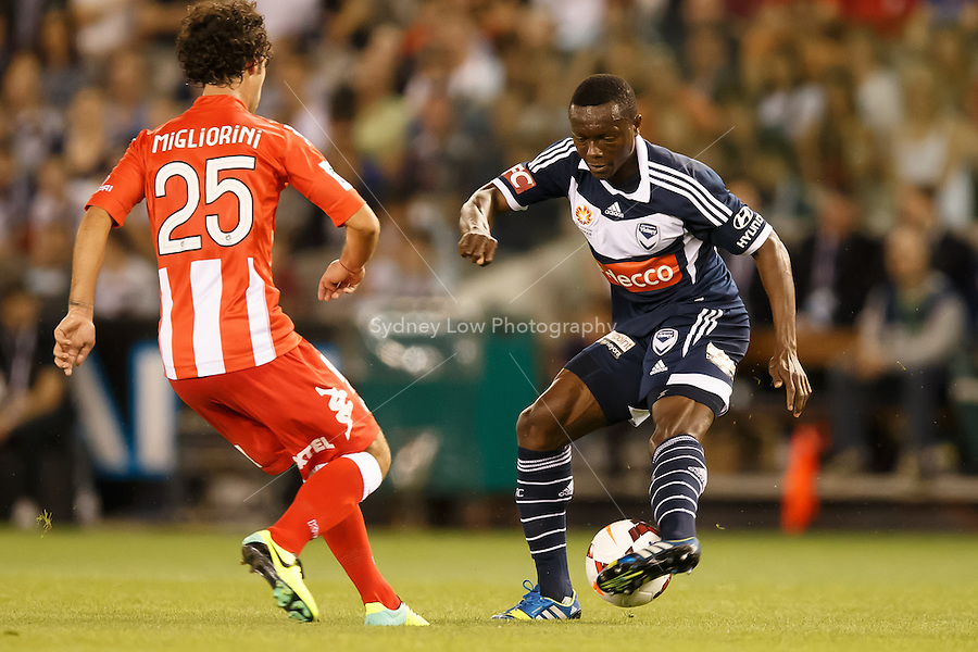 Adama TRAORE of the Victory controls the ball in the round one match between Melbourne Victory and Melbourne Heart in the Australian Hyundai A-League 2013-24 season at Etihad Stadium, Melbourne, Australia.<br /> This image is not for sale. Please visit zumapress.com for image licensing.