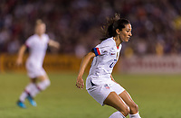 PASADENA, CA - AUGUST 4: Christen Press #23 defends during a game between Ireland and USWNT at Rose Bowl on August 3, 2019 in Pasadena, California.