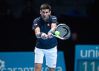 Novak Djokovic (SBR) in action during the ATP World Tour Final against Andy Murray (GBR), ATP World Tour Finals 2016, Day Eight, O2 Arena, Peninsula Square, London, United Kingdom, 20th Nov 2016