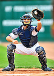 24 July 2010: Vermont Lake Monsters catcher Cole Leonida warms up his pitcher prior to a game against the Lowell Spinners at Centennial Field in Burlington, Vermont. The Spinners defeated the Lake Monsters 11-5 in NY Penn League action. Mandatory Credit: Ed Wolfstein Photo