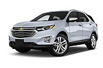 Stock pictures of low aggressive front three quarter view of a 2019 Chevrolet Equinox Premier 5 Door SUV