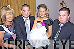 Congratulations - John Joe & Imelda Egan from Causeway pictured along with Godparents Martha Barrett & Paudi Egan at the Christening celebrations for their daughter Chloe in Kirby's Bar, Causeway following the ceremony in St. John's Church, Causeway on Saturday.