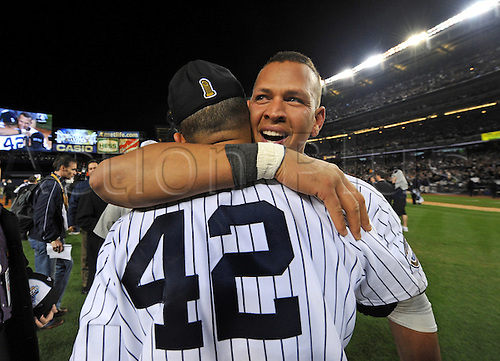 November 4, 2009: Philadelphia Phillies at New York Yankees in game six of the World Series at Yankee Stadium in the Bronx, NY -  The Yankees celebrate there World Series victory over the Phillies for their 27th World Series win. Alex Rodriguez and Mariano Rivera hug on the field after the win.