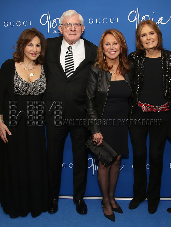 """Kathy Najimy, Phil Donahue, Marlo Thomas and Gloria Steinem attends the Opening Night Performance of """"Gloria: A Life"""" on October 18, 2018 at the Daryl Roth Theatre in New York City."""