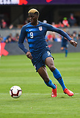 February 2nd 2019, San Jose, California, USA; USA forward Gyasi Zardes (9) controls the ball during the international friendly match between USA and Costa Rica at Avaya Stadium on February 2, 2019 in San Jose CA.