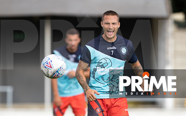 Sam Saunders of Wycombe Wanderers pre match during the 2018/19 Pre Season Friendly match between Chesham United and Wycombe Wanderers at the Meadow , Chesham, England on 24 July 2018. Photo by Andy Rowland.