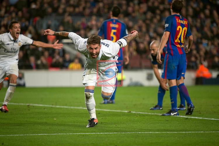 League Santander 2016/2017. Game: 14.<br /> FC Barcelona vs Real Madrid: 1-1.<br /> Sergio Ramos.