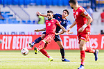 Komail Hasan Alaswad of Bahrain (L) fights for the ball with Thitipan Puangjan of Thailand during the AFC Asian Cup UAE 2019 Group A match between Bahrain (BHR) and Thailand (THA) at Al Maktoum Stadium on 10 January 2019 in Dubai, United Arab Emirates. Photo by Marcio Rodrigo Machado / Power Sport Images