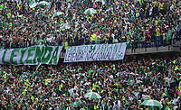 MEDELLIN- COLOMBIA - 6 - 08 - 2018: Unos 40 mil hinchas del Atlético Nacional le dieron la despedida en el estadio Atanasio Girardot a Franco Armani guardameta del Atlético Nacional , que por ocho años jugo 248 partidos y gano  13 titulos /  40 thousand fans of Atlético Nacional gave farewell to Franco Armani goalkeeper of Atlético Nacional who for eight years played 248 games and won 13 titles. Photo: VizzorImage  / León Monsalve / Contribuidor