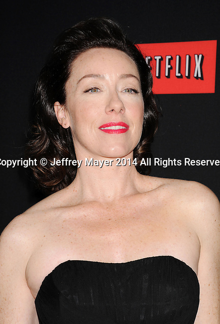 LOS ANGELES, CA- FEBRUARY 13: Actress Molly Parker arrives at the 'House Of Cards' Season 2 special screening at Directors Guild Of America on February 13, 2014 in Los Angeles, California.