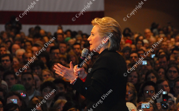 Hillary Clinton addresses a full house of supporters at Monona Terrace Monday night, 2/18/08, in Madison, Wisconsin