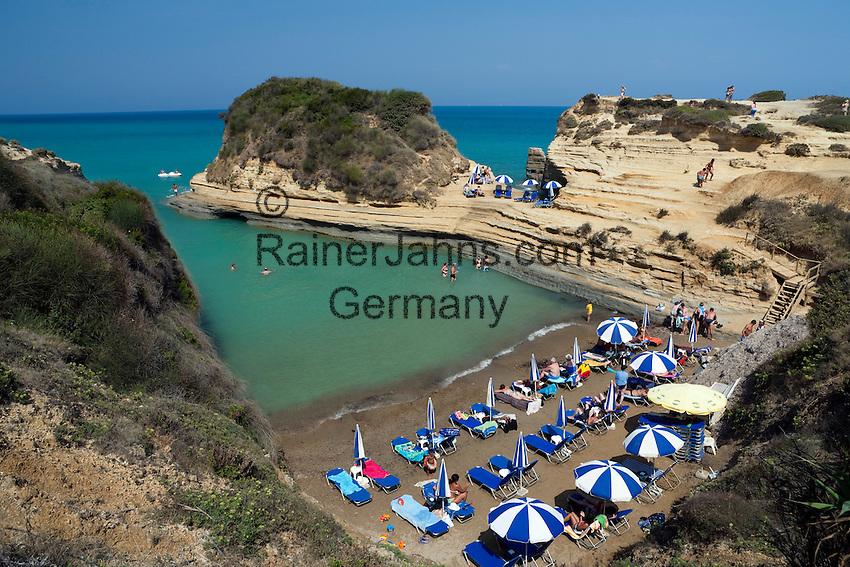 Greece, Corfu, Sidari: Busy beach, Canal d`Amour, on North coast of island