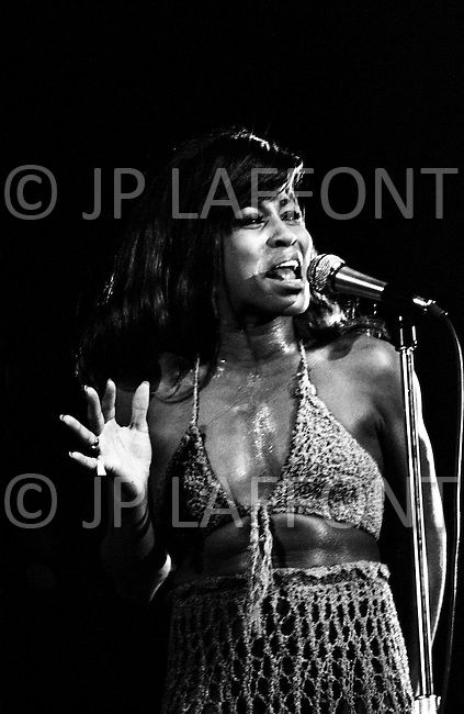 August 1970, Manhattan, New York City, New York State, USA --- Singer Tina Turner performing at a concert in August 1970 at Central Park in Manhattan. --- Image by © JP Laffont