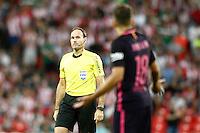 Spanish referee Mateu Lahoz have words with FC Barcelona's Jordi Alba during La Liga match. August 28,2016. (ALTERPHOTOS/Acero) /NORTEPHOTO