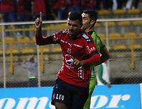 BOGOTA - COLOMBIA - 21 - 10 - 2017: Rodrigo Erramuspe jugador del Independiente Medellín celebra su gol contra La Equidad, durante partido entre La Equidad y el Indeendiente Medellín,  por la fecha 16 de la Liga Aguila II-2017, jugado en el estadio Metropolitano de Techo de la ciudad de Bogota. / Rodrigo Erramuspe player of Independiente Medellin celebrates his goal agaisnt of La Equidad, during a match between La Equidad and Indepndiente Medellin, for the  date 16nd of the Liga Aguila II-2017 at the Metropolitano de Techo Stadium in Bogota city, Photo: VizzorImage  /Felipe Caicedo / Staff.