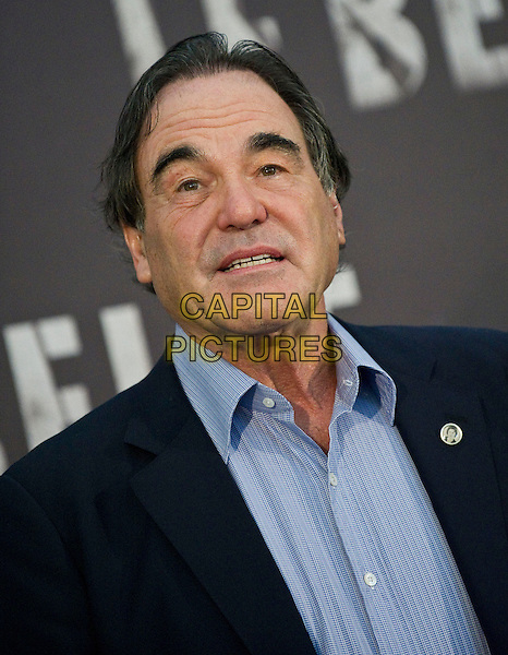 Oliver Stone.Photocall for the film 'Savages', Rome, Italy..September 25th, 2012 .headshot portrait suit jacket blue shirt black.CAP/IPP/FC.©Fanny Coletta/IPP/Capital Pictures. .