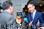 Fianna Fail leader Micheal Martin and Norma Moriarty address the media scrum at  the Killarney Avenue Hotel on Tuesday