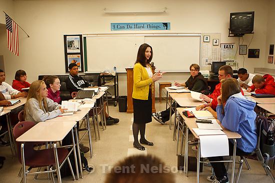 Trent Nelson  |  The Salt Lake Tribune.East High's Leigh Vandenakker is Teacher of the Year. She supervised a study class at East in Salt Lake City, Utah, Thursday, October 6, 2011.