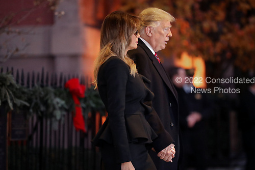 First lady Melania Trump and President Donald Trump leave the Blair House after paying a visit to the family of former President George H.W. Bush December 04, 2018 in Washington, DC. The Trumps were paying a condolence visit to the Bush family who are in Washington for former President George H.W. Bushs state funeral and related honors. <br /> Credit: Chip Somodevilla / Pool via CNP