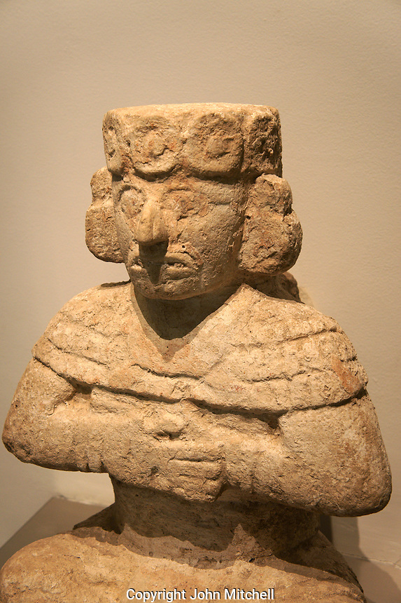 Anthropomorphic figure from Chichen Itza, Gran Museo del Mundo Maya museum in Merida, Yucatan, Mexico      .