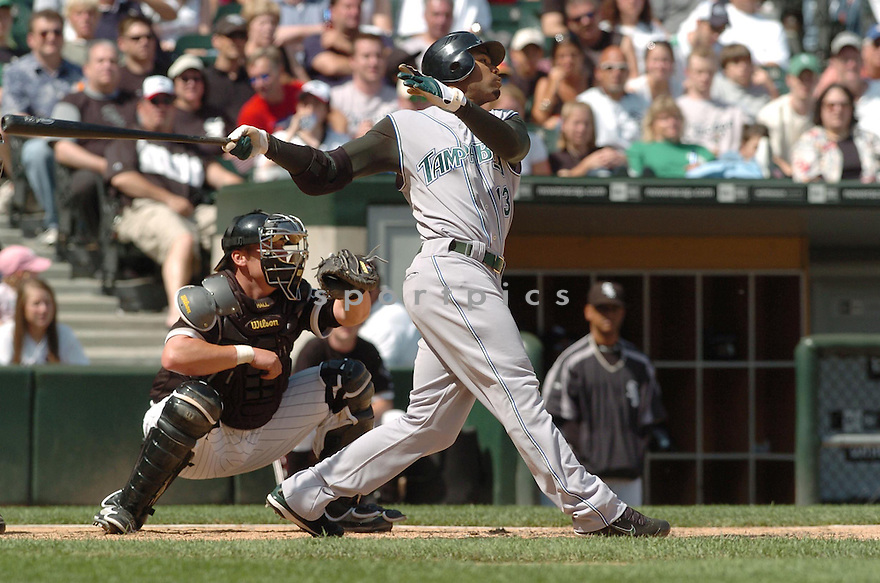 CARL CRAWFORD, of the Tampa Bay Devil Rays , in action during the  Devil Rays  game against the Chicago White Sox  in Chicago, IL, on May 27,  2007...Devil Rays  win 11-5...DAVID DUROCHIK / SPORTPICS.