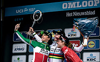 podium with race winner Annemiek Van Vleuten (NED/Mitchelton Scott) and 3th place finisher Floortje Mackaij (NED/Sunweb) and 2nd place finisher Marta Bastianelli (ITA/Ale BTC Ljubljana)<br /> <br /> 12th Women's Omloop Het Nieuwsblad 2020 (BEL)<br /> Women's Elite Race <br /> Gent – Ninove: 123km<br /> <br /> ©kramon