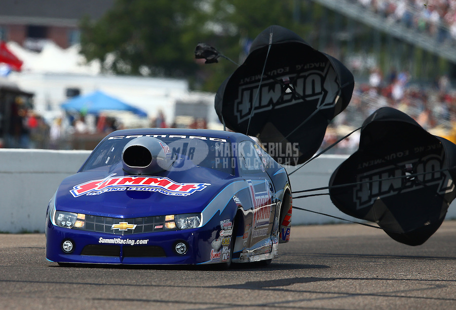 Aug. 18, 2013; Brainerd, MN, USA: NHRA pro stock driver Jason Line during the Lucas Oil Nationals at Brainerd International Raceway. Mandatory Credit: Mark J. Rebilas-