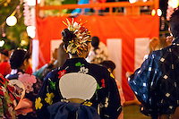 Participants in traditional Japanese attire enjoy the annual obon dance at Lahaina Jodo Buddhist Mission, Lahaina, Maui