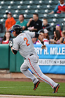 Joe Panik (2) of the Fresno Grizzlies hustles down the first base line against the Salt Lake Bees at Smith's Ballpark on April 9, 2014 in Salt Lake City, Utah.  (Stephen Smith/Four Seam Images)
